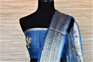 Buy blue gota patti embroidery chanderi sari online in USA with zari border. Go for a distinct and tasteful saree style on special occasions with handwoven sarees, chanderi sarees with blouse from Pure Elegance Indian fashion store in USA.-blouse pallu