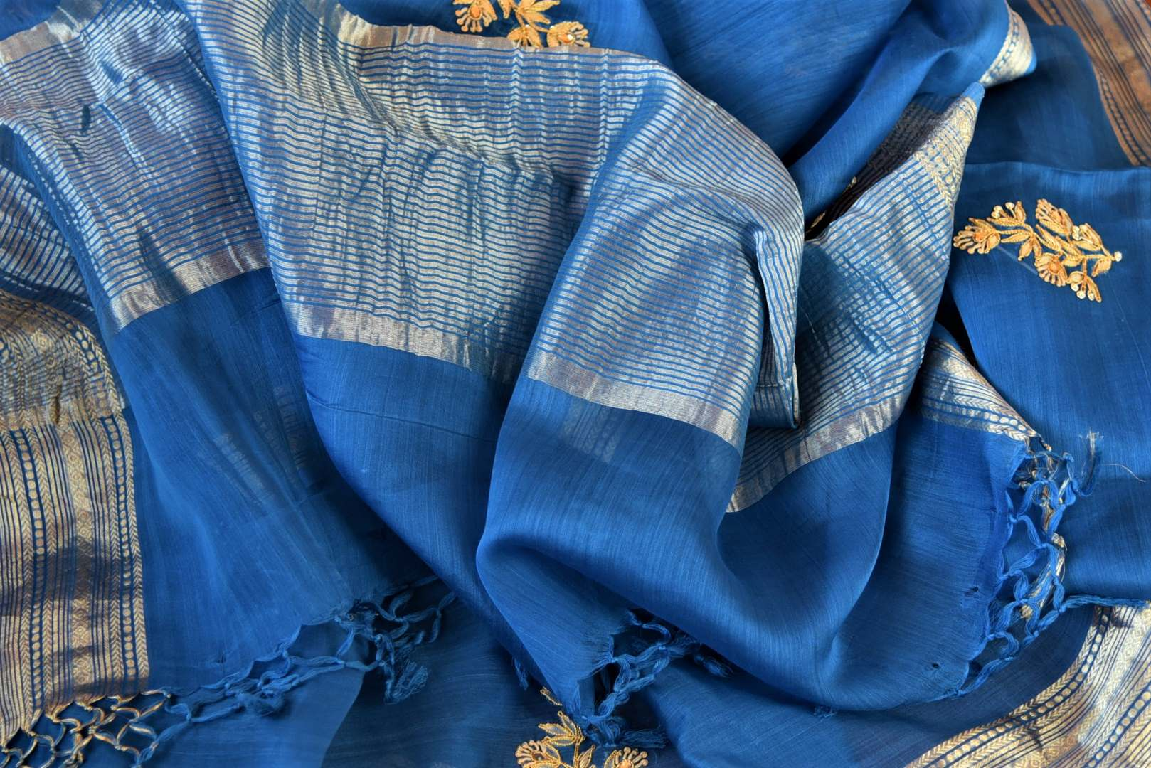 Buy blue gota patti embroidery chanderi sari online in USA with zari border. Go for a distinct and tasteful saree style on special occasions with handwoven sarees, chanderi sarees with blouse from Pure Elegance Indian fashion store in USA.-details