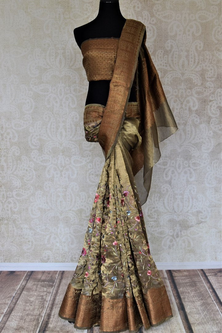 Buy gorgeous golden embroidered metallic linen sari online in USA. Be the talk of the occasions in exquisite linen sarees, embroidered saris from Pure Elegance Indian fashion store in USA. -full view