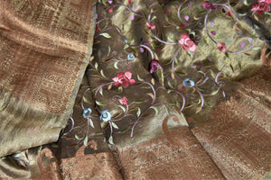 Buy gorgeous golden embroidered metallic linen sari online in USA. Be the talk of the occasions in exquisite linen sarees, embroidered saris from Pure Elegance Indian fashion store in USA. -details