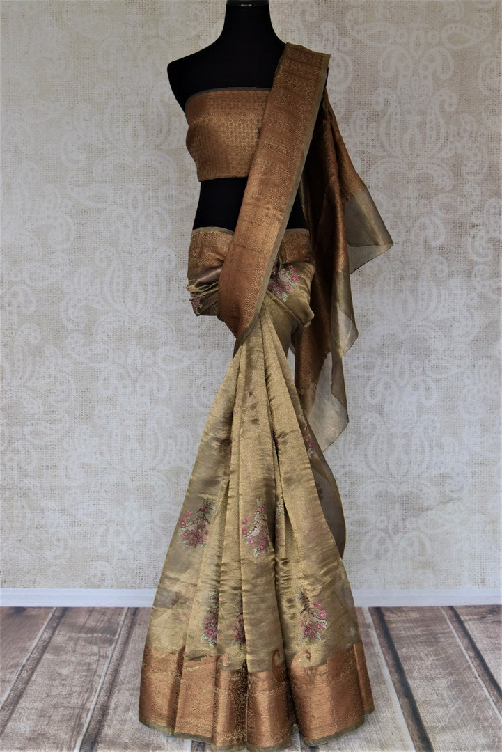 Shop metallic golden embroidered linen saree online in USA. Be the talk of the occasions in exquisite linen sarees, embroidered saris from Pure Elegance Indian fashion store in USA. -full view