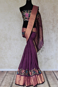 Buy beautiful purple linen sari online in USA with hand painted Kalamkari applique. Be the talk of the occasions in exquisite linen sarees, embroidered saris from Pure Elegance Indian fashion store in USA. -full view