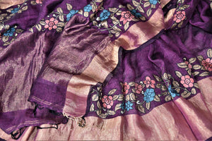 Buy beautiful purple linen sari online in USA with hand painted Kalamkari applique. Be the talk of the occasions in exquisite linen sarees, embroidered saris from Pure Elegance Indian fashion store in USA. -details