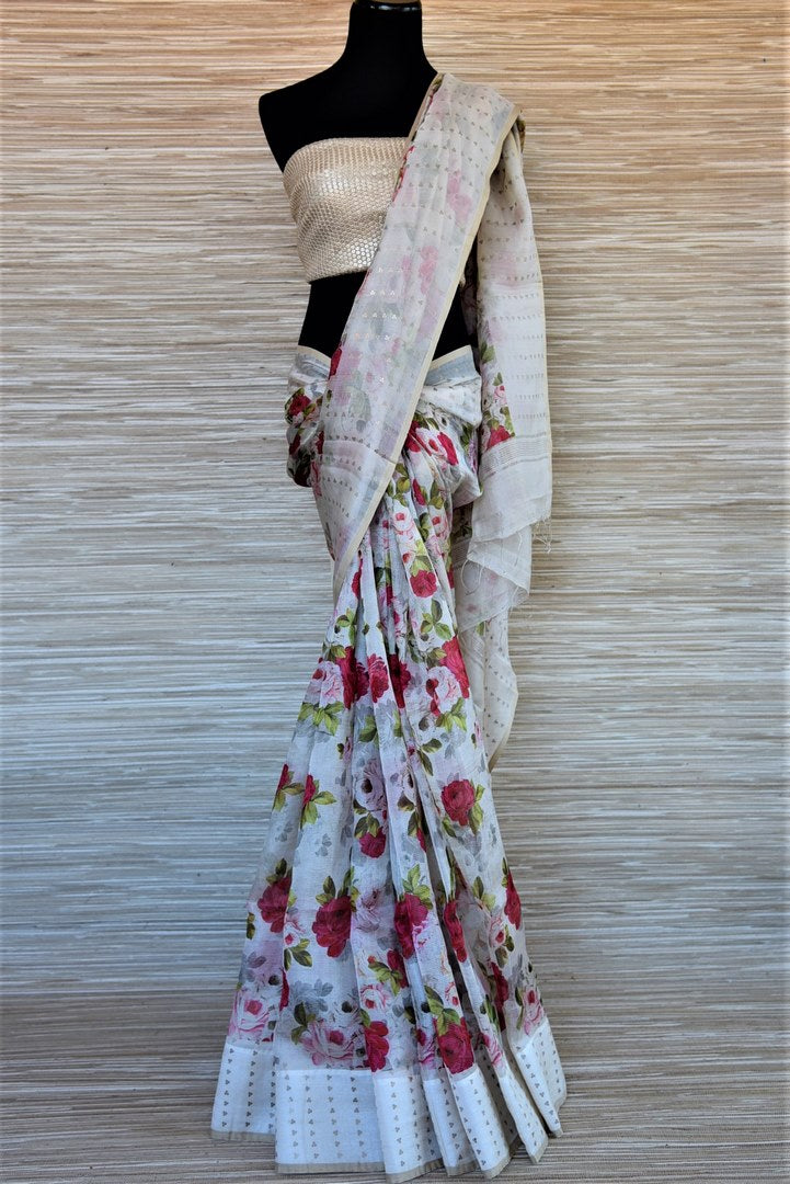 Shop beautiful white matka silk saree online in USA with rose floral print. Wear designer sarees, handwoven silk saris on special occasions from Pure Elegance Indian clothing store in USA. -full view