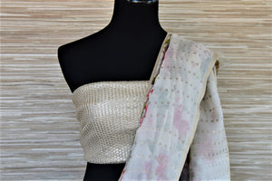 Shop beautiful white matka silk saree online in USA with rose floral print. Wear designer sarees, handwoven silk saris on special occasions from Pure Elegance Indian clothing store in USA. -blouse pallu