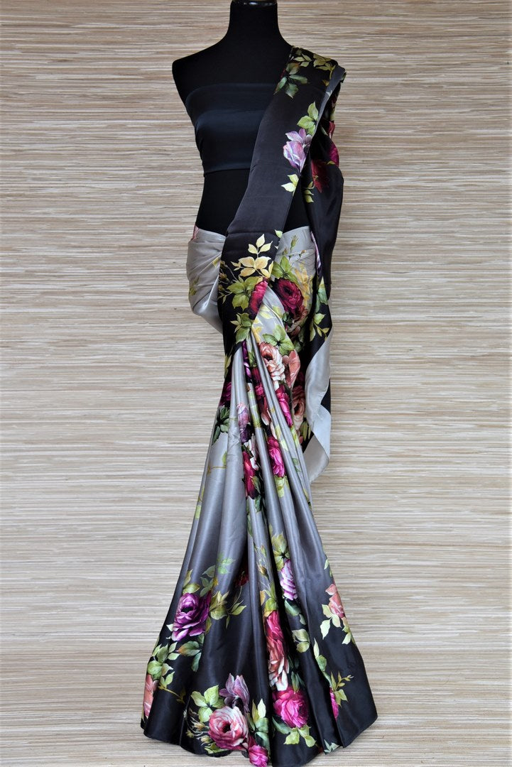 Shop elegant ombre grey floral satin crepe saree online in USA. Be the highlight of the parties and festive occasions with tasteful silk sarees, crepe saris, embroidered designer sarees from Pure Elegance Indian fashion store in USA.-full view