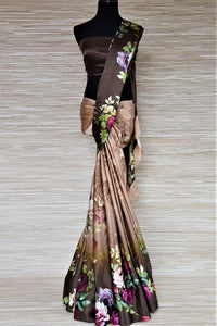 Buy ombre brown floral print satin crepe saree online in USA. Be the highlight of the parties and festive occasions with tasteful silk sarees, crepe saris, embroidered designer sarees from Pure Elegance Indian fashion store in USA.-full view