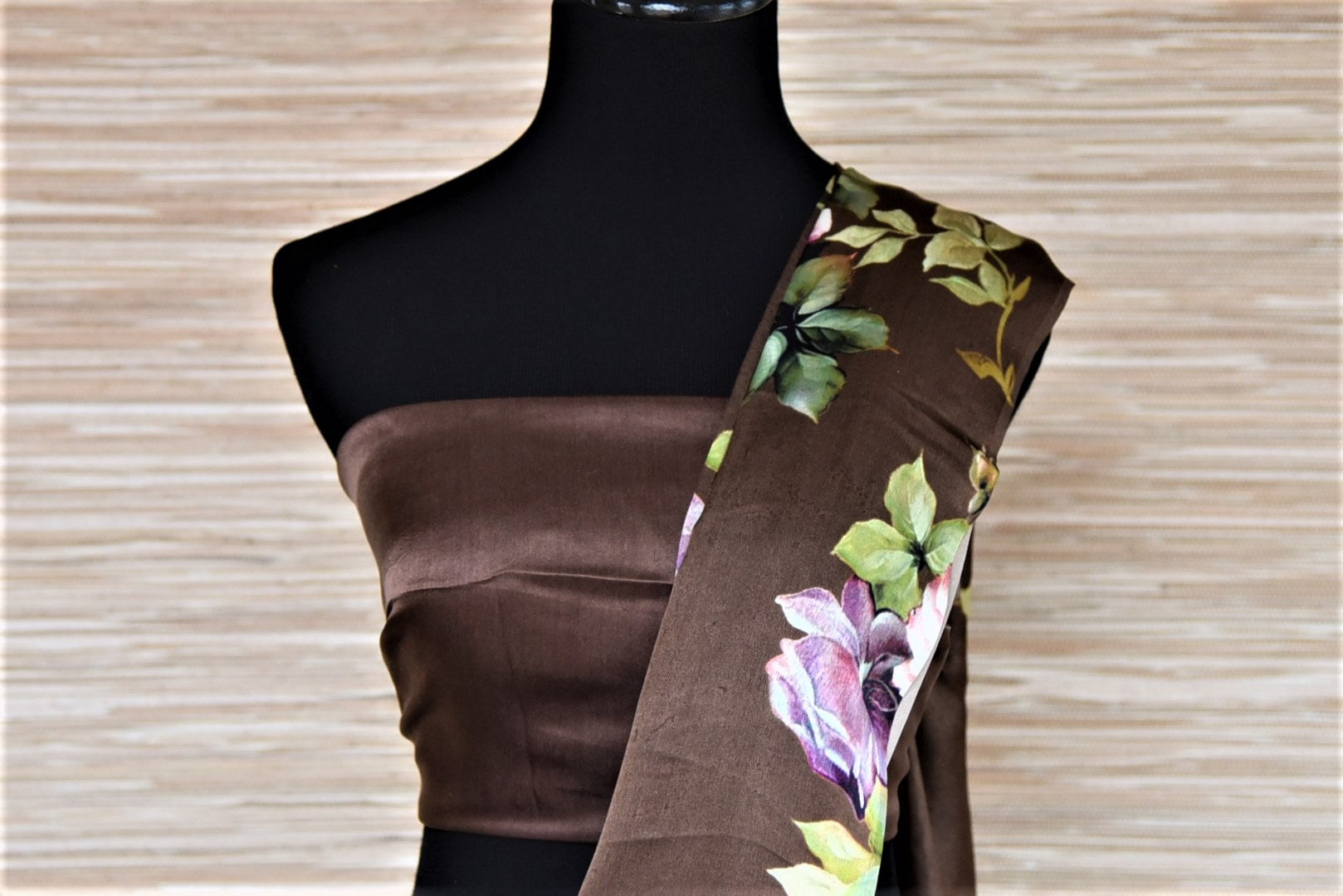 Buy ombre brown floral print satin crepe saree online in USA. Be the highlight of the parties and festive occasions with tasteful silk sarees, crepe saris, embroidered designer sarees from Pure Elegance Indian fashion store in USA.-blouse pallu