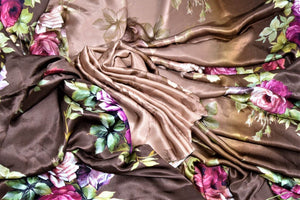 Buy ombre brown floral print satin crepe saree online in USA. Be the highlight of the parties and festive occasions with tasteful silk sarees, crepe saris, embroidered designer sarees from Pure Elegance Indian fashion store in USA.-details