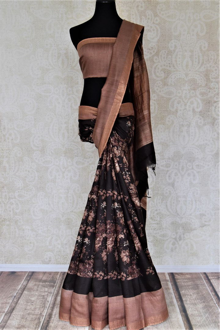 Shop gorgeous black floral print tussar silk sari online in USA with plain brown border. Make a beautiful appearance on special occasions with exquisite Indian designer sarees, pure silk saris from Pure Elegance Indian fashion store in USA.-full view