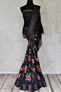 Buy captivating black bright floral print tussar silk saree online in USA with light zari border. Make a beautiful appearance on special occasions with exquisite Indian designer sarees, pure silk saris from Pure Elegance Indian fashion store in USA.-full view