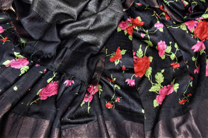 Buy captivating black bright floral print tussar silk saree online in USA with light zari border. Make a beautiful appearance on special occasions with exquisite Indian designer sarees, pure silk saris from Pure Elegance Indian fashion store in USA.-details