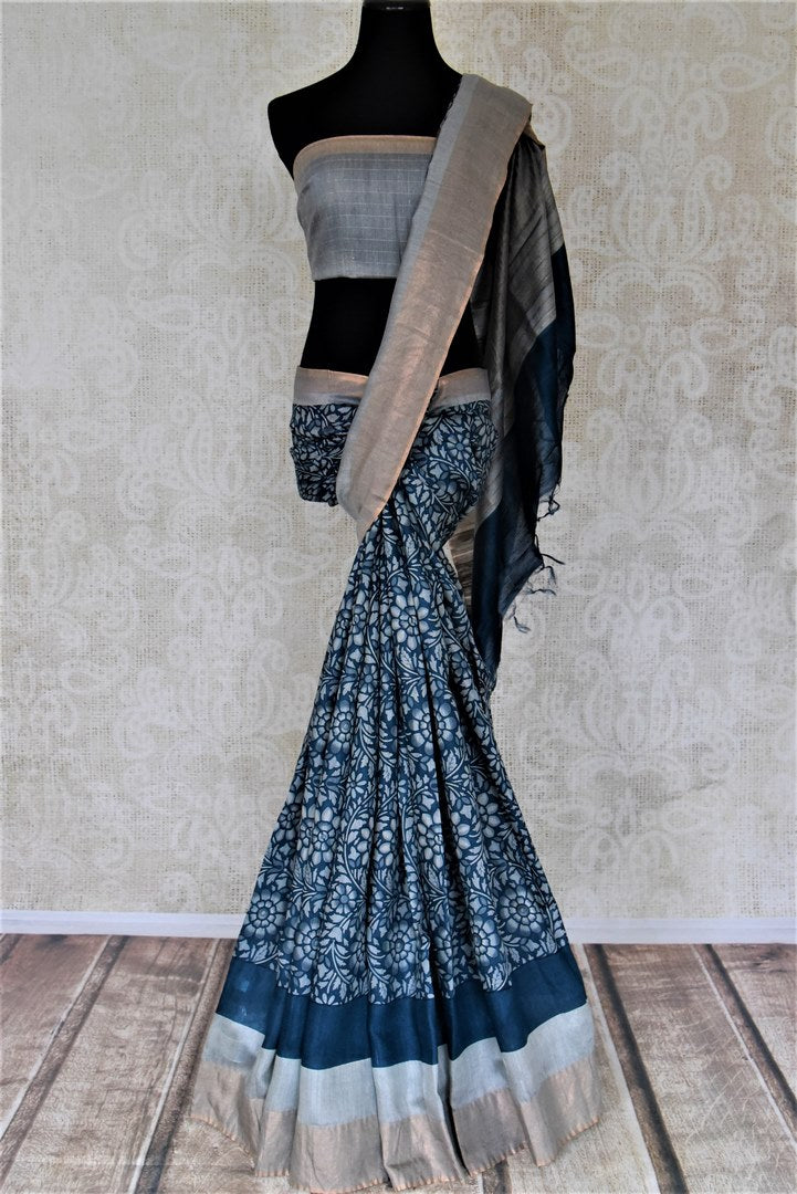 Buy dark blue floral print tussar silk sari online in USA with light zari border. Make a beautiful appearance on special occasions with exquisite Indian designer saris, pure silk sarees from Pure Elegance Indian fashion store in USA.-full view