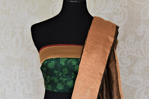 Buy gorgeous brown linen saree online in USA with embroidered floral motifs and zari border. Be the talk of the occasions in exquisite linen sarees, handwoven silk saris from Pure Elegance Indian fashion store in USA. -blouse pallu