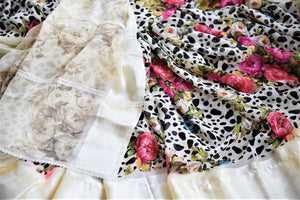 Shop off-white floral and polka dot georgette saree online in USA with crepe border. Be the highlight of the parties and festive occasions with tasteful silk sarees, crepe saris, embroidered designer sarees from Pure Elegance Indian fashion store in USA.-details
