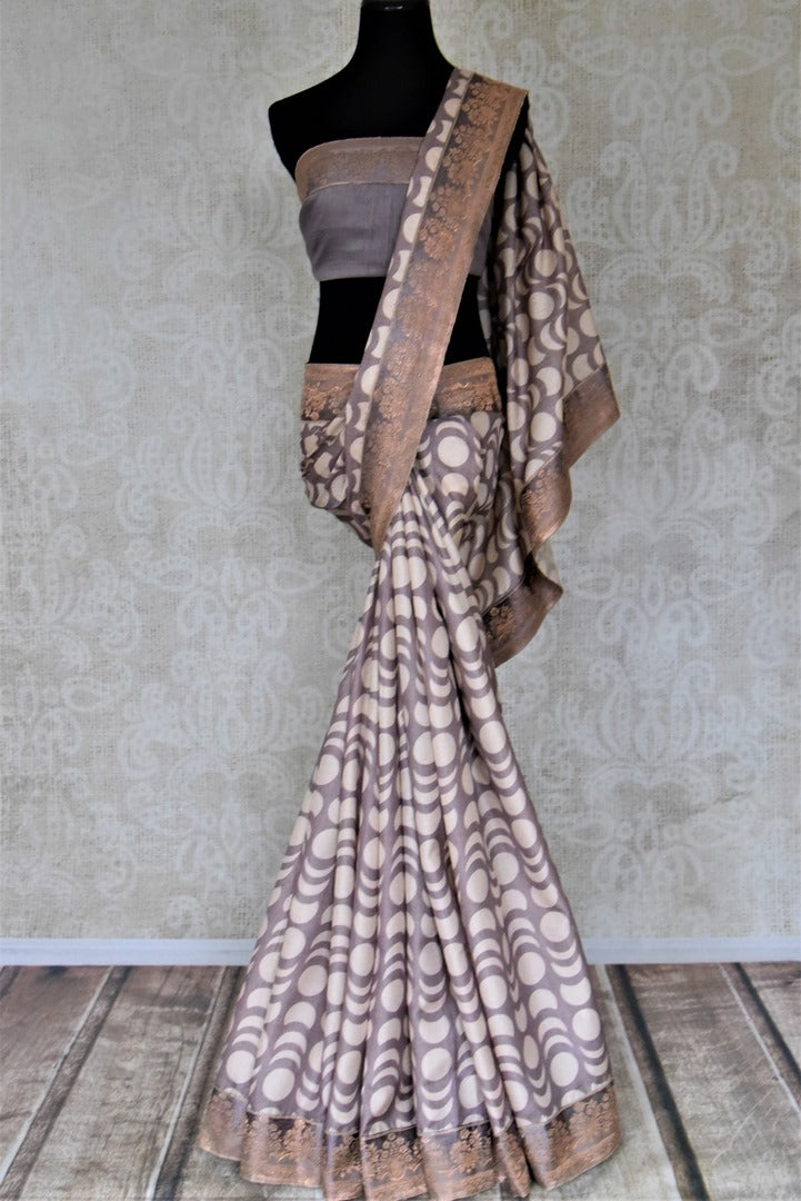 Buy gorgeous grey tussar silk saree online in USA with Banarasi border. Make a beautiful appearance on special occasions with exquisite Indian designer saris, pure silk sarees from Pure Elegance Indian fashion store in USA.-full view