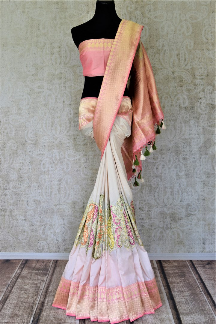 Buy gorgeous powder pink Banarasi silk saree online in USA with minakari zari paisley work. Enhance your festive look with pure silk sarees, Banarasi sarees, chanderi sarees in USA from Pure Elegance Indian clothing store in USA.-full view