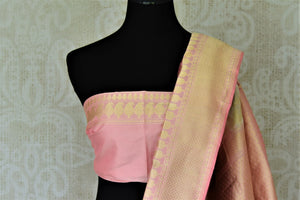 Buy gorgeous powder pink Banarasi silk saree online in USA with minakari zari paisley work. Enhance your festive look with pure silk sarees, Banarasi sarees, chanderi sarees in USA from Pure Elegance Indian clothing store in USA.-blouse pallu