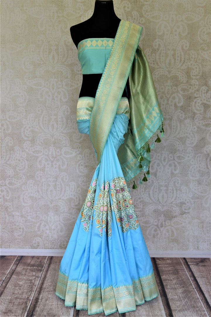 Buy gorgeous light blue Banarasi silk sari online in USA with minakari zari floral motifs. Enhance your festive look with pure silk sarees, Banarasi sarees, chanderi sarees in USA from Pure Elegance Indian clothing store in USA.-full view