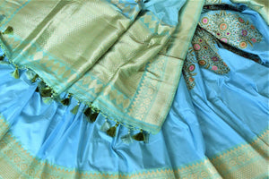 Buy gorgeous light blue Banarasi silk sari online in USA with minakari zari floral motifs. Enhance your festive look with pure silk sarees, Banarasi sarees, chanderi sarees in USA from Pure Elegance Indian clothing store in USA.-details