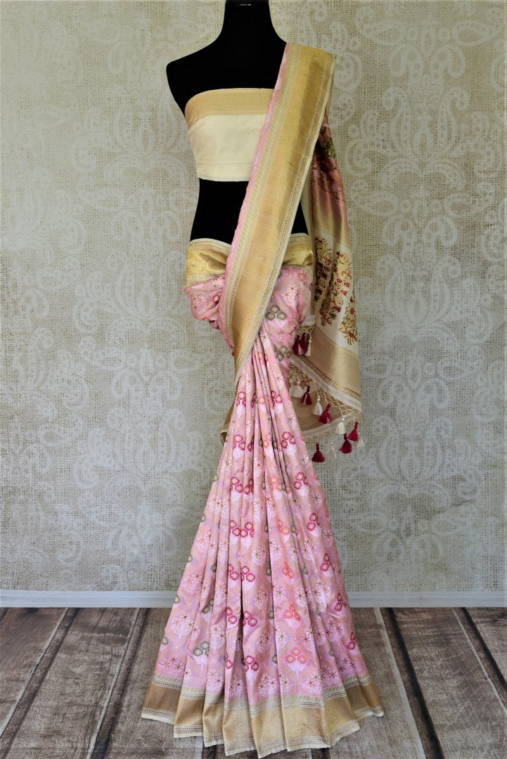 Shop stunning baby pink Banarasi silk saree online in USA with floral minakari zari work. Enhance your festive look with pure silk sarees, Banarasi saris, chanderi sarees in USA from Pure Elegance Indian clothing store in USA.-full view