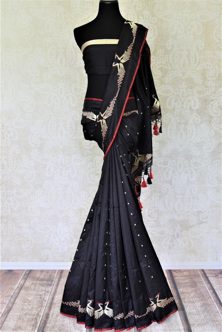 Buy gorgeous black Banarasi silk saree online in USA with zari peacock design on border. Enhance your festive look with pure silk sarees, Banarasi saris, chanderi sarees in USA from Pure Elegance Indian clothing store in USA.-full view