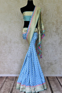 Shop gorgeous light blue Banarasi silk saree online in USA with golden zari border and pallu. Enhance your festive look with pure silk sarees, Banarasi saris, chanderi sarees in USA from Pure Elegance Indian clothing store in USA.-full view