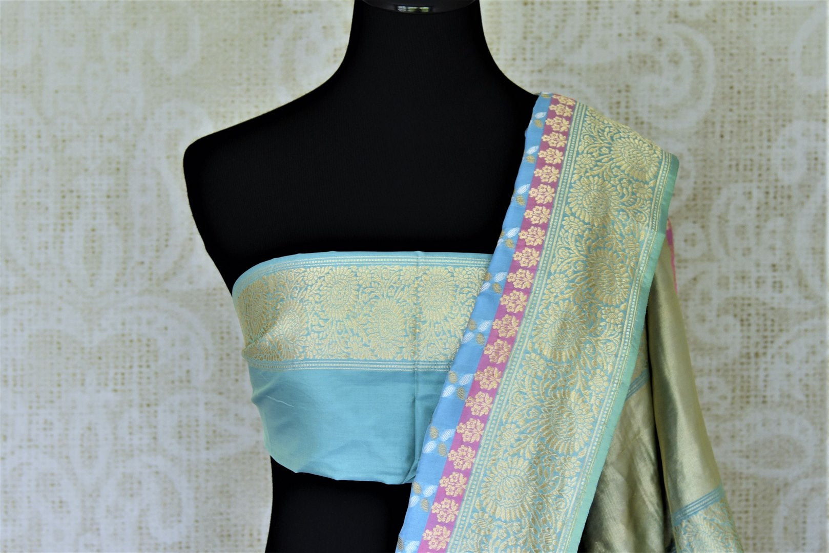 Shop gorgeous light blue Banarasi silk saree online in USA with golden zari border and pallu. Enhance your festive look with pure silk sarees, Banarasi saris, chanderi sarees in USA from Pure Elegance Indian clothing store in USA.-blouse pallu
