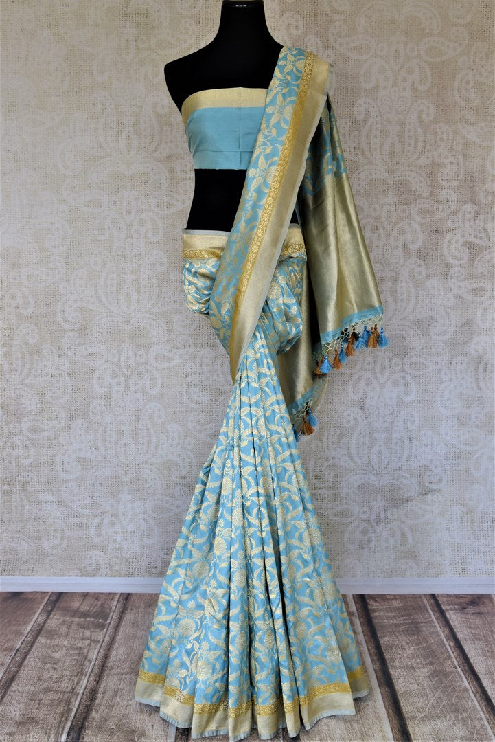 Buy sky blue Banarsi silk saree online in USA with overall zari work. Keep it elegant with zari work sarees, Banarasi silk sarees, handwoven sarees from Pure Elegance Indian fashion boutique in USA. We bring a especially curated collection of ethnic sarees for Indian women in USA under one roof!-full view