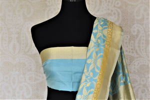Buy sky blue Banarsi silk saree online in USA with overall zari work. Keep it elegant with zari work sarees, Banarasi silk sarees, handwoven sarees from Pure Elegance Indian fashion boutique in USA. We bring a especially curated collection of ethnic sarees for Indian women in USA under one roof!-blouse pallu