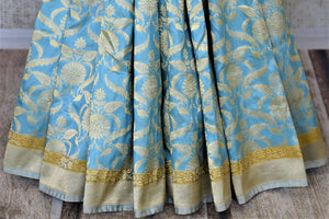 Buy sky blue Banarsi silk saree online in USA with overall zari work. Keep it elegant with zari work sarees, Banarasi silk sarees, handwoven sarees from Pure Elegance Indian fashion boutique in USA. We bring a especially curated collection of ethnic sarees for Indian women in USA under one roof!-pleats