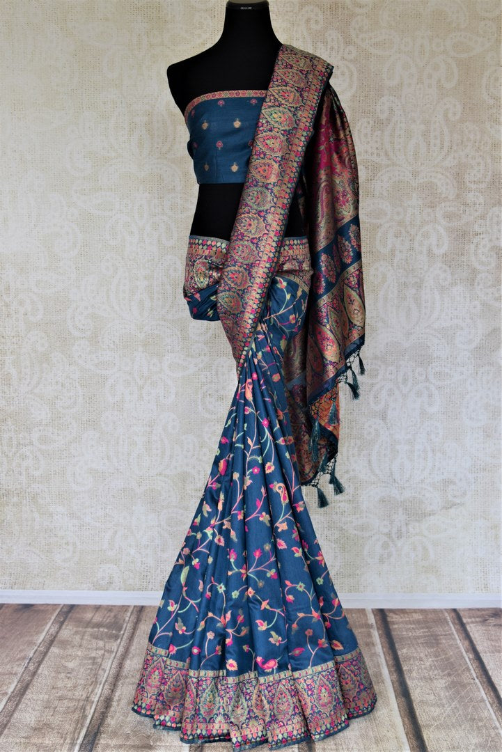 Shop gorgeous blue Pashmina silk saree online in USA. Keep it traditional on weddings and special occasions with beautiful handwoven sarees, pure silk sarees from Pure Elegance Indian fashion store in USA.-full view