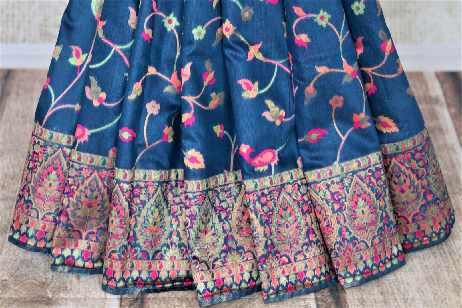 Shop gorgeous blue Pashmina silk saree online in USA. Keep it traditional on weddings and special occasions with beautiful handwoven sarees, pure silk sarees from Pure Elegance Indian fashion store in USA.-pleats