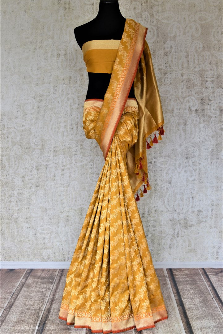 Shop gorgeous mustard Banarsi silk saree online in USA with overall golden zari work. Keep it elegant with zari work sarees, Banarasi silk sarees, handwoven sarees from Pure Elegance Indian fashion boutique in USA. We bring a especially curated collection of ethnic sarees for Indian women in USA under one roof!-full view