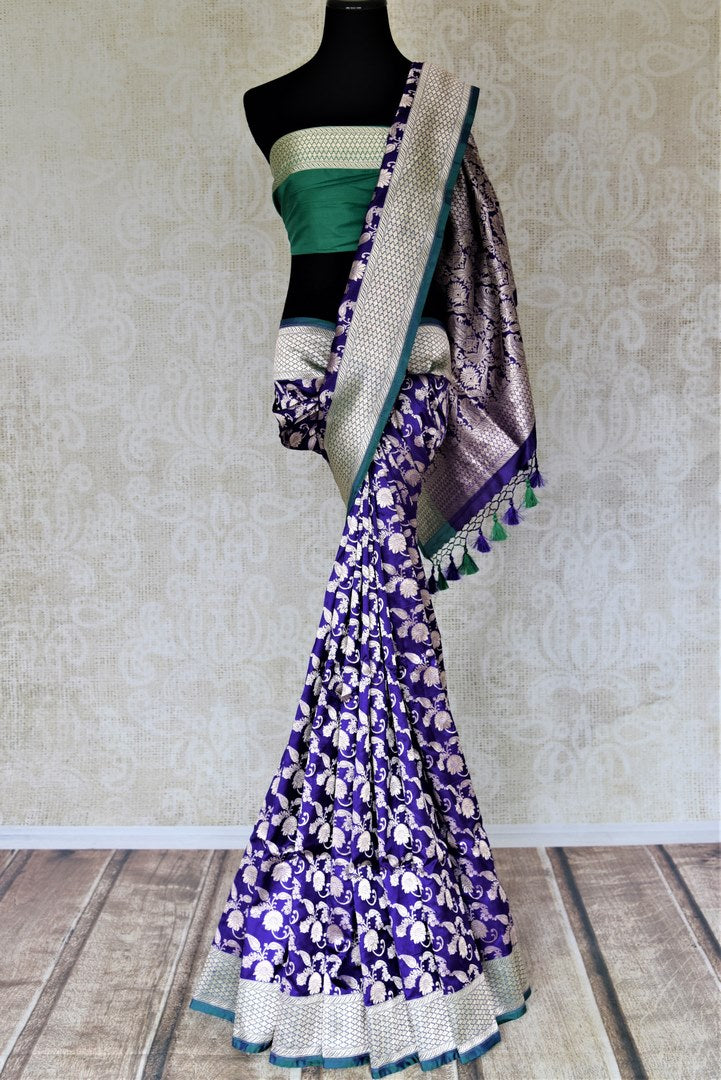 Shop stunning light blue Banarasi silk saree online in USA with silver zari buta and zari border. Keep it elegant with zari work sarees, Banarasi silk sarees, handwoven sarees from Pure Elegance Indian fashion boutique in USA. We bring a especially curated collection of ethnic sarees for Indian women in USA under one roof!-full view