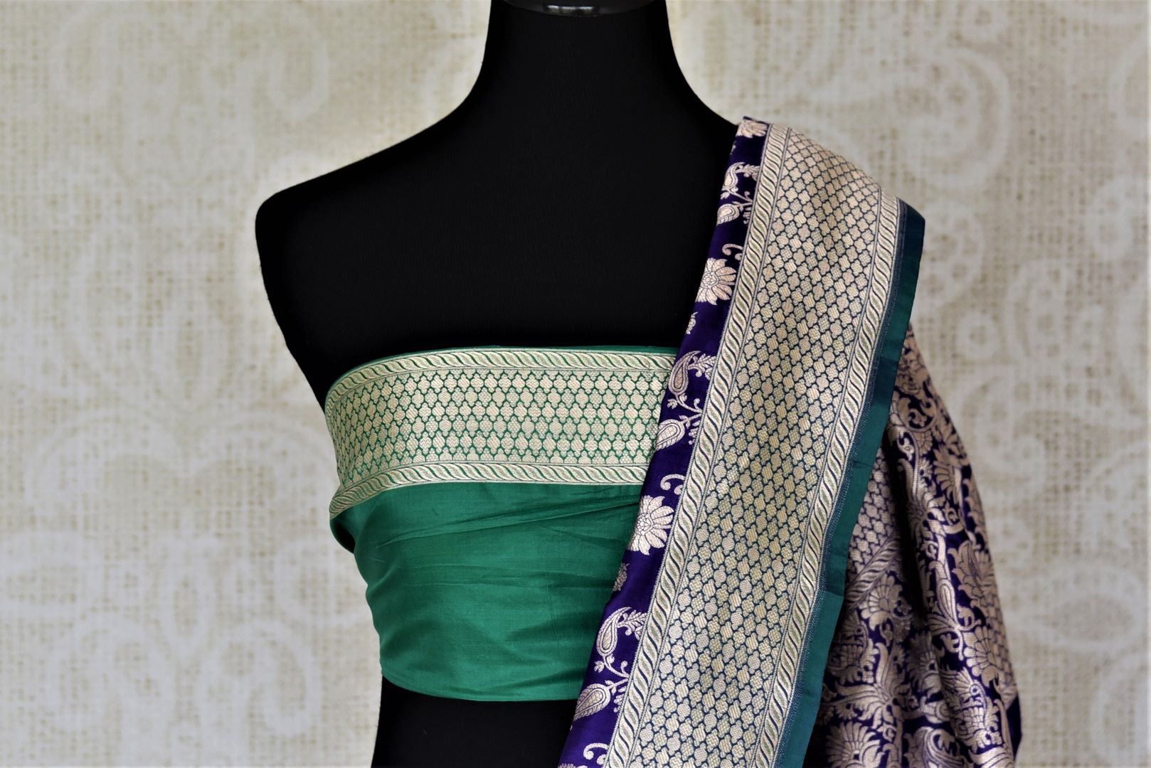 Shop stunning light blue Banarasi silk saree online in USA with silver zari buta and zari border. Keep it elegant with zari work sarees, Banarasi silk sarees, handwoven sarees from Pure Elegance Indian fashion boutique in USA. We bring a especially curated collection of ethnic sarees for Indian women in USA under one roof!-blouse