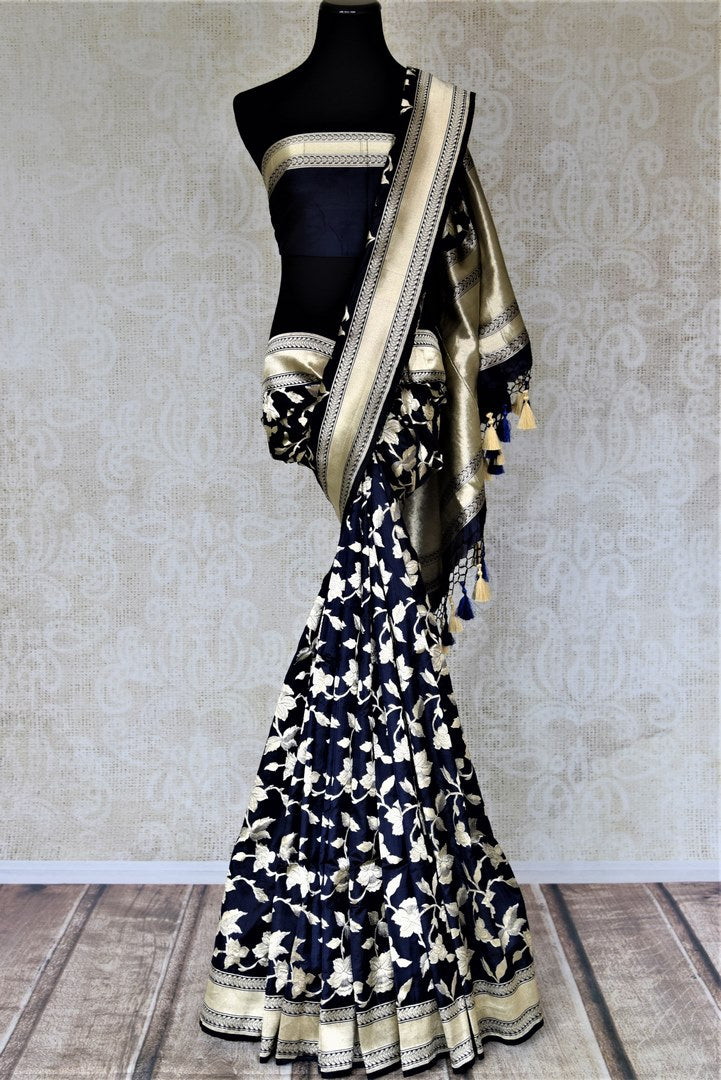Shop beautiful navy Banarasi silk saree online in USA with floral zari work. Keep it elegant with zari work sarees, Banarasi silk sarees, handwoven sarees from Pure Elegance Indian fashion boutique in USA. We bring a especially curated collection of ethnic sarees for Indian women in USA under one roof!-full view