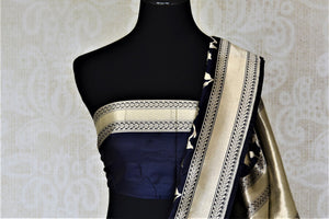 Shop beautiful navy Banarasi silk saree online in USA with floral zari work. Keep it elegant with zari work sarees, Banarasi silk sarees, handwoven sarees from Pure Elegance Indian fashion boutique in USA. We bring a especially curated collection of ethnic sarees for Indian women in USA under one roof!-blouse pallu