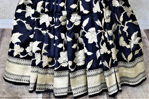Shop beautiful navy Banarasi silk saree online in USA with floral zari work. Keep it elegant with zari work sarees, Banarasi silk sarees, handwoven sarees from Pure Elegance Indian fashion boutique in USA. We bring a especially curated collection of ethnic sarees for Indian women in USA under one roof!-pleats