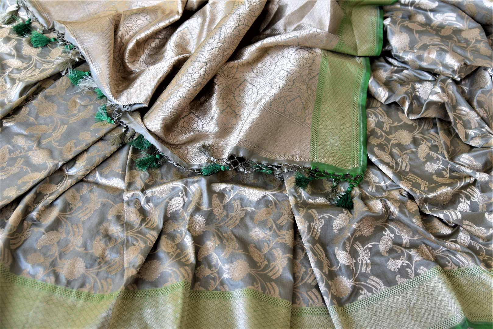 90J402 Light Grey Banarasi Silk Sari with Zari Work Green Border