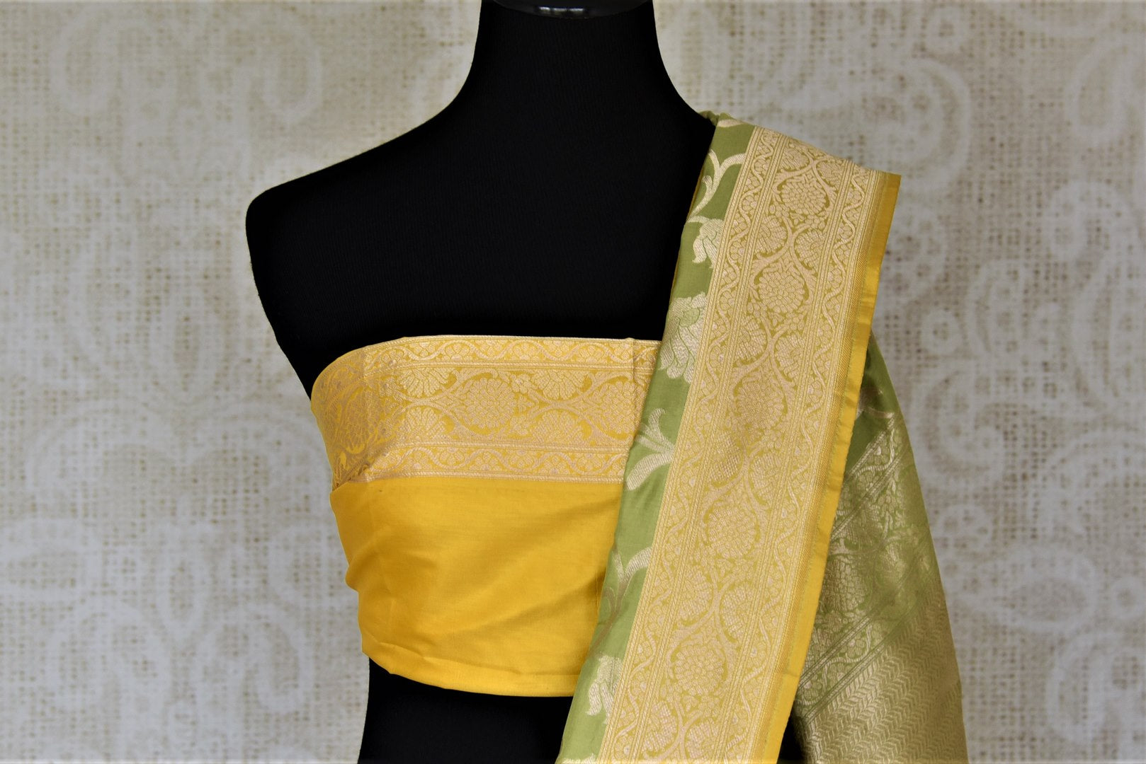 Buy stunning pista green Banarasi silk sari online in USA with zari work yellow border. Keep it elegant with zari work sarees, Banarasi silk sarees, handwoven sarees from Pure Elegance Indian fashion boutique in USA. We bring a especially curated collection of ethnic sarees for Indian women in USA under one roof!-blouse pallu
