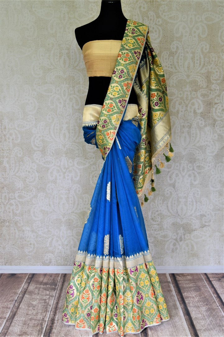 Buy beautiful blue Banarasi silk sari online in USA with heavy minakari zari border and pallu. Enhance your festive look with pure silk sarees, Banarasi saris, chanderi sarees in USA from Pure Elegance Indian clothing store in USA.-full view