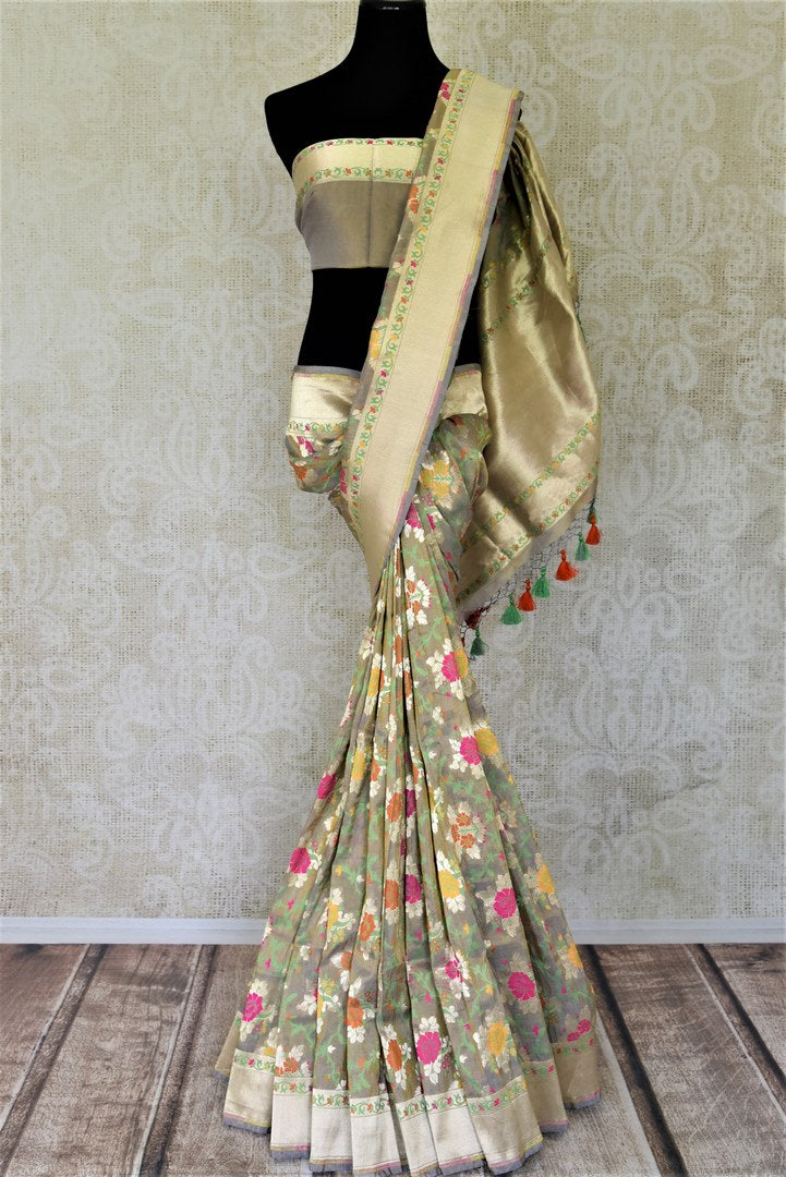 Buy gorgeous grey color Banarasi silk sari online in USA with floral minakari zari work. Enhance your festive look with pure silk sarees, Banarasi saris, chanderi sarees in USA from Pure Elegance Indian clothing store in USA.-full view