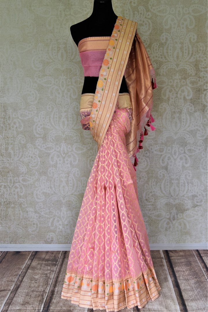 Shop soft pink Banarasi silk saree online in USA with cream zari border and pallu. Enhance your festive look with pure silk sarees, Banarasi saris, chanderi sarees in USA from Pure Elegance Indian clothing store in USA.-full view