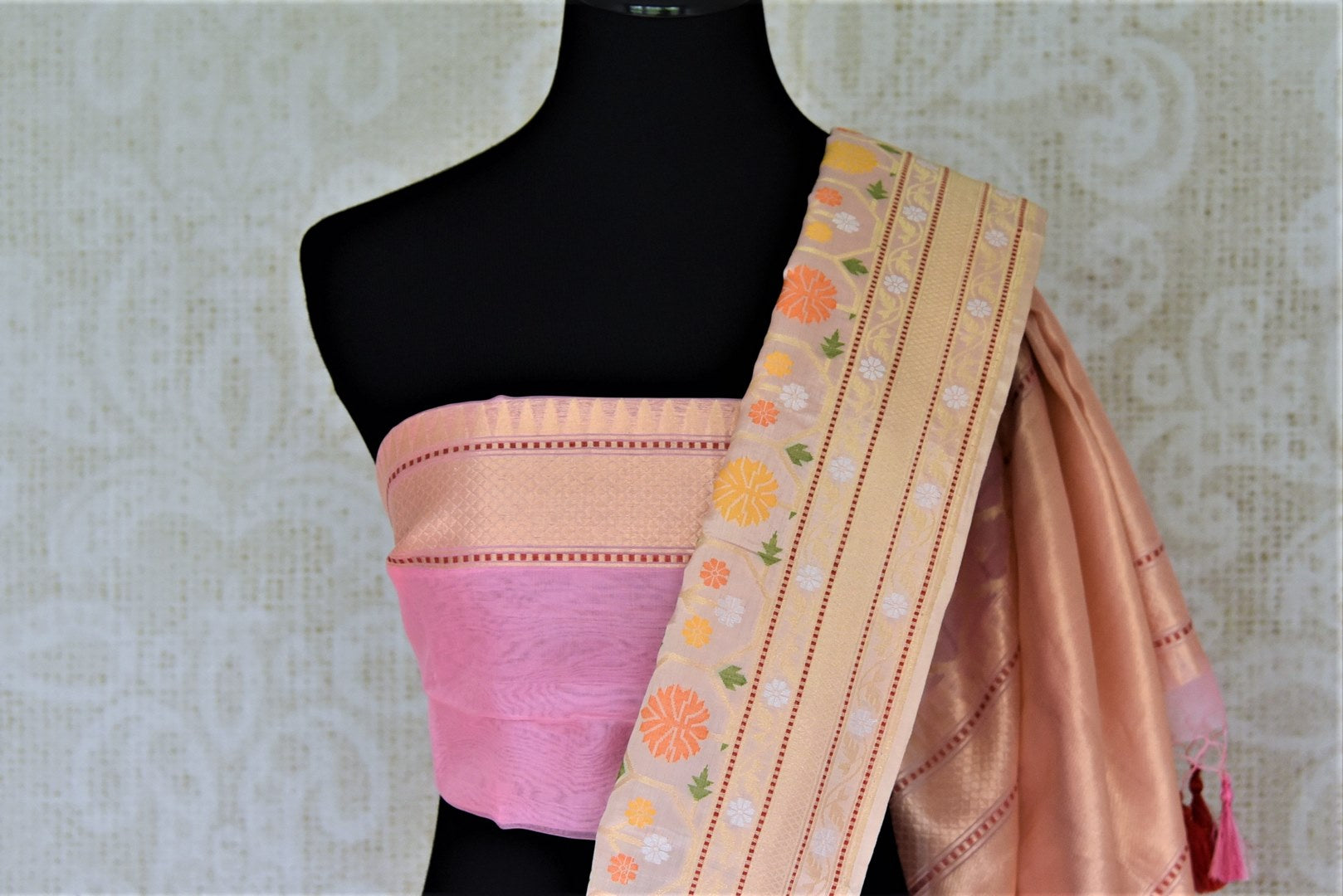 Shop soft pink Banarasi silk saree online in USA with cream zari border and pallu. Enhance your festive look with pure silk sarees, Banarasi saris, chanderi sarees in USA from Pure Elegance Indian clothing store in USA.-blouse pallu
