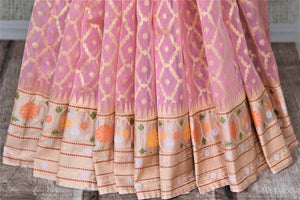Shop soft pink Banarasi silk saree online in USA with cream zari border and pallu. Enhance your festive look with pure silk sarees, Banarasi saris, chanderi sarees in USA from Pure Elegance Indian clothing store in USA.-pleats