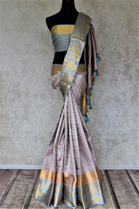 Shop beautiful grey Kanjeevaram saree online in USA with blue border. Look rich and traditional in zari work sarees, Kanchipuram silk sarees, handwoven sarees from Pure Elegance Indian fashion boutique in USA. We bring a especially curated collection of ethnic sarees for Indian women in USA under one roof!-full view