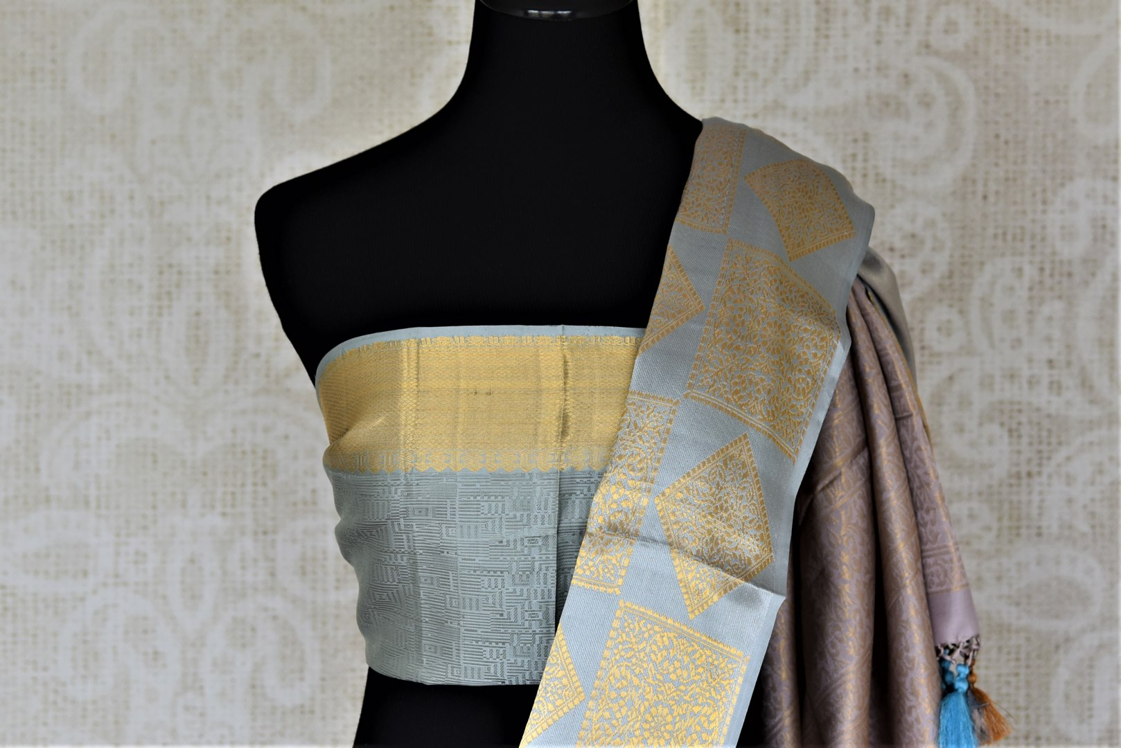 Shop beautiful grey Kanjeevaram saree online in USA with blue border. Look rich and traditional in zari work sarees, Kanchipuram silk sarees, handwoven sarees from Pure Elegance Indian fashion boutique in USA. We bring a especially curated collection of ethnic sarees for Indian women in USA under one roof!-blouse