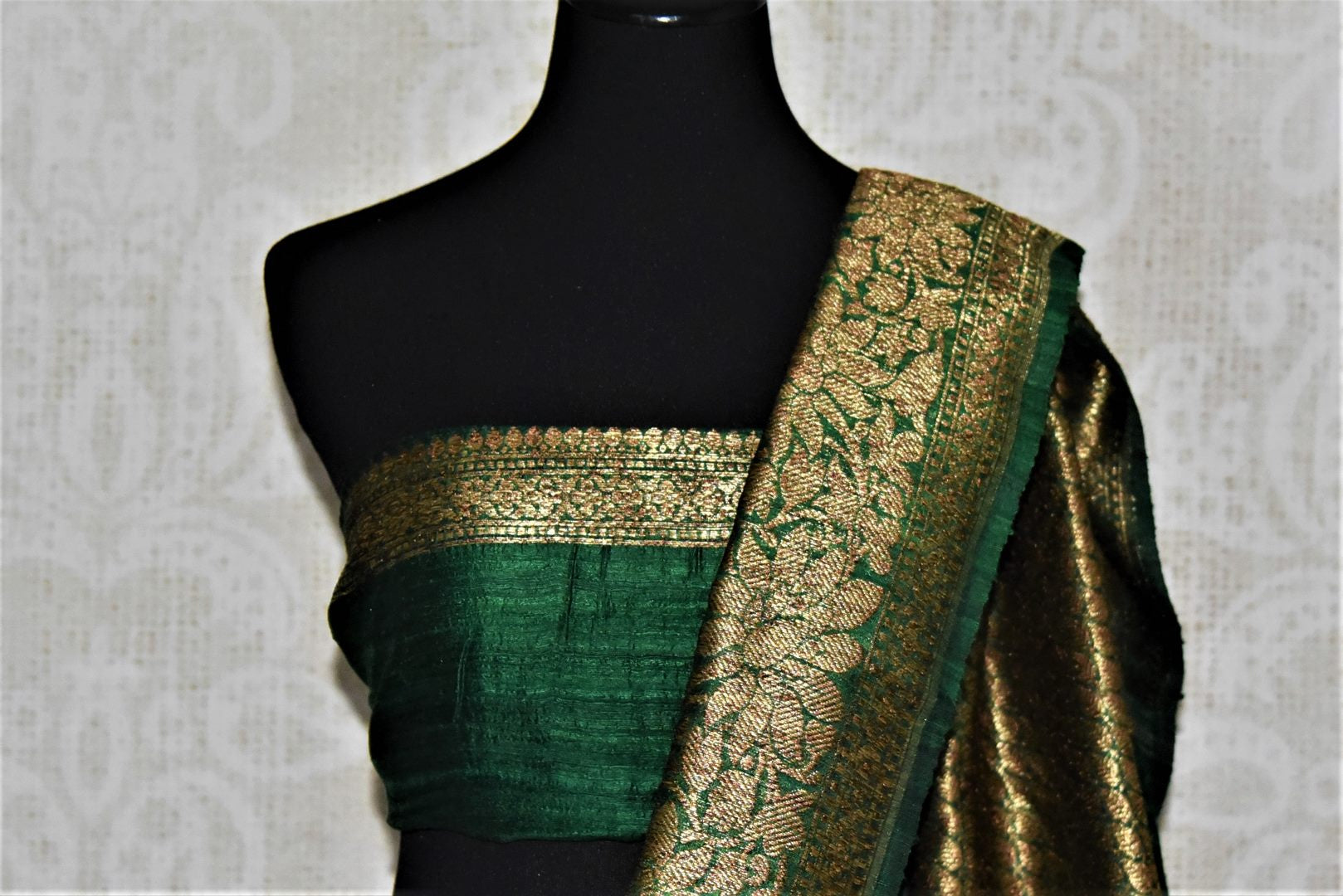 Buy lovely blue tussar Benarasi saree online in USA with green antique zari border. Keep your ethnic style updated with latest designer saris, handloom sarees, pure silk sarees from Pure Elegance Indian fashion store in USA.-blouse pallu