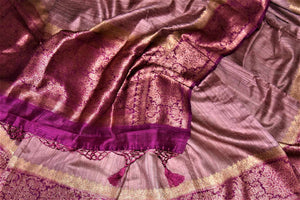 Buy beautiful dusty pink tussar Benarasi sari online in USA with magenta antique zari border. Keep your ethnic style updated with latest designer saris, handloom sarees, pure silk sarees from Pure Elegance Indian fashion store in USA.-details